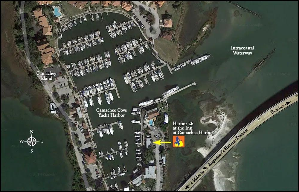 Directions 2 aerial map Harbor 26 at the Inn at Camachee Harbor